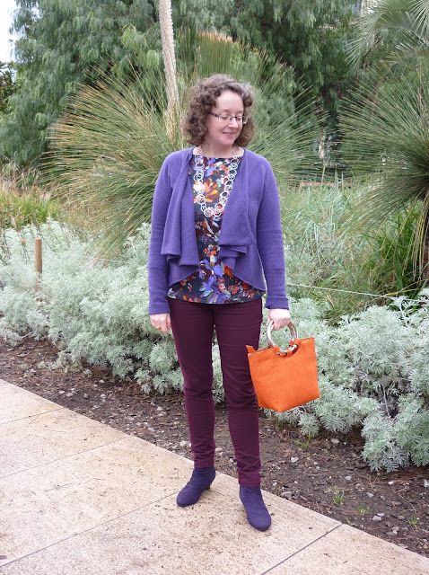 Purple Cashmere Waterfall Cardigan, Land's End Floral Tee, Purple Suede M&S Boots | Petite Silver Vixen
