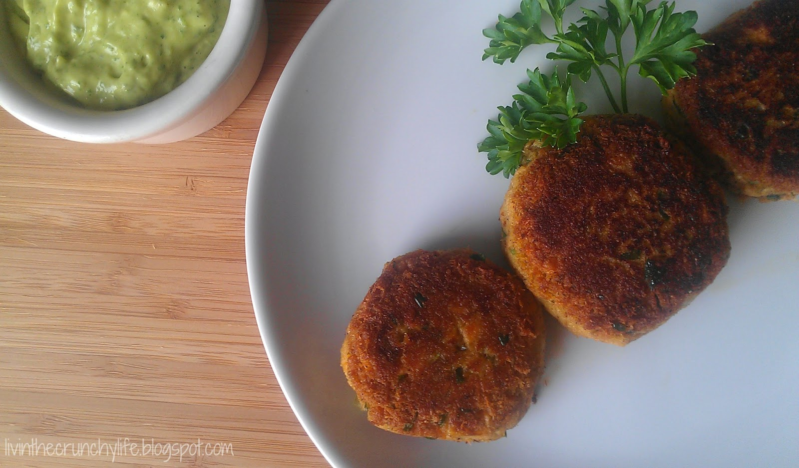 Salmon (or Crab) Cakes with Cilantro Lime Avocado Remoulade (gluten, dairy, nut, egg-free)