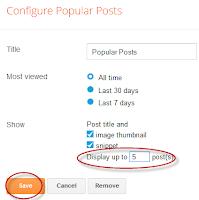 Pengaturan widget popular post