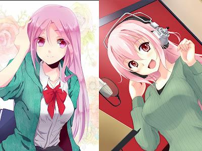 Momoi (Kuroko No Basket) dan Sonico (Super Sonico)