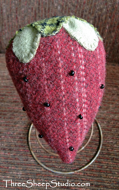 Red Wool Strawberries by Rose Clay at ThreeSheepStudio.com