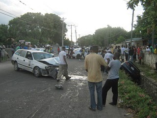 A picture of an accident involving two cars.