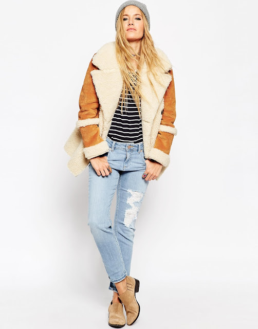 Suede shearling coat,