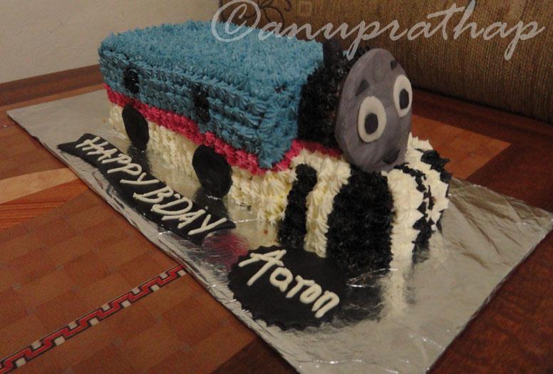 Anu Prathaps Kitchen Thomas Train Cake for a 7 year Old boy