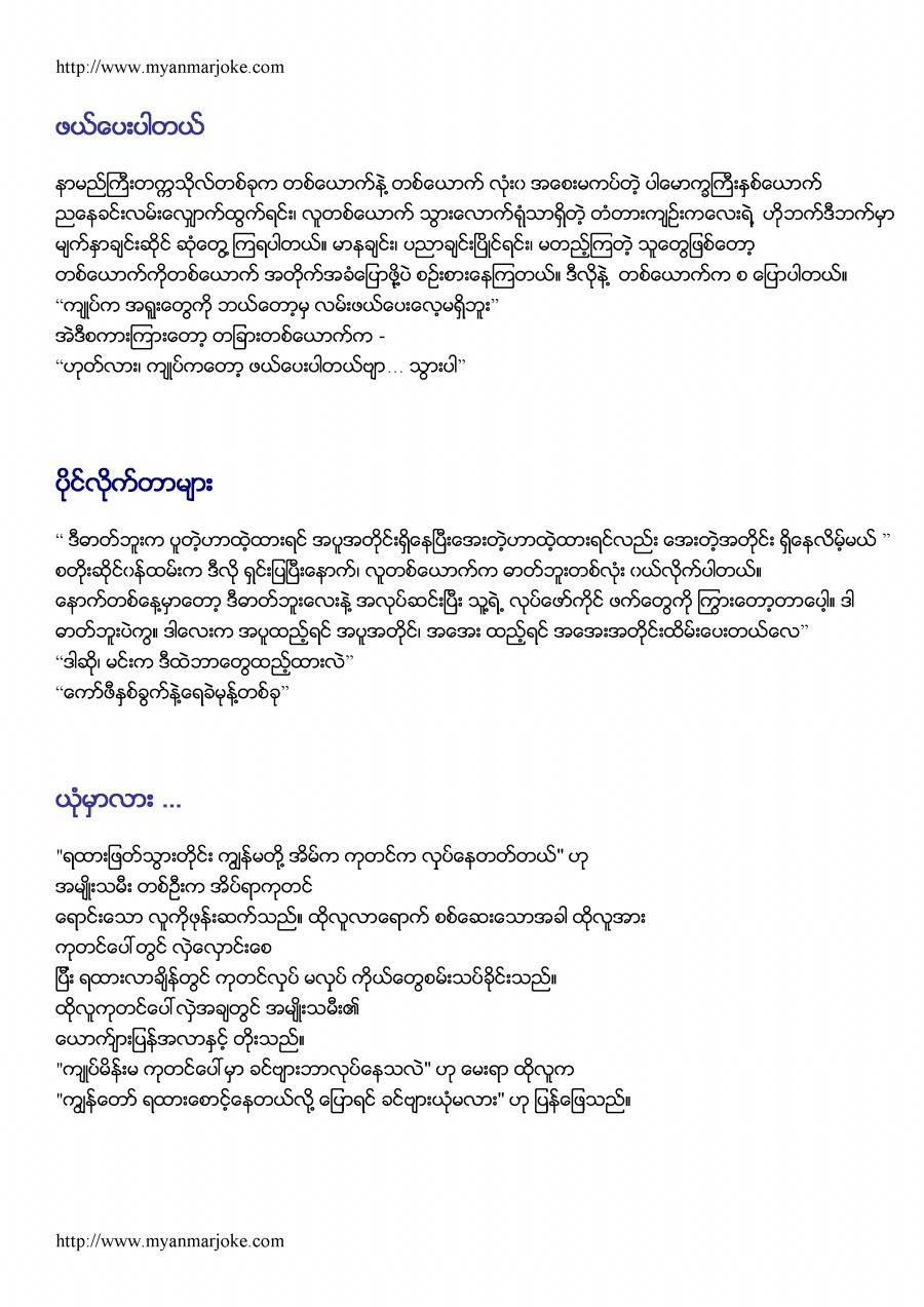 Will You Believe??, myanmar joke