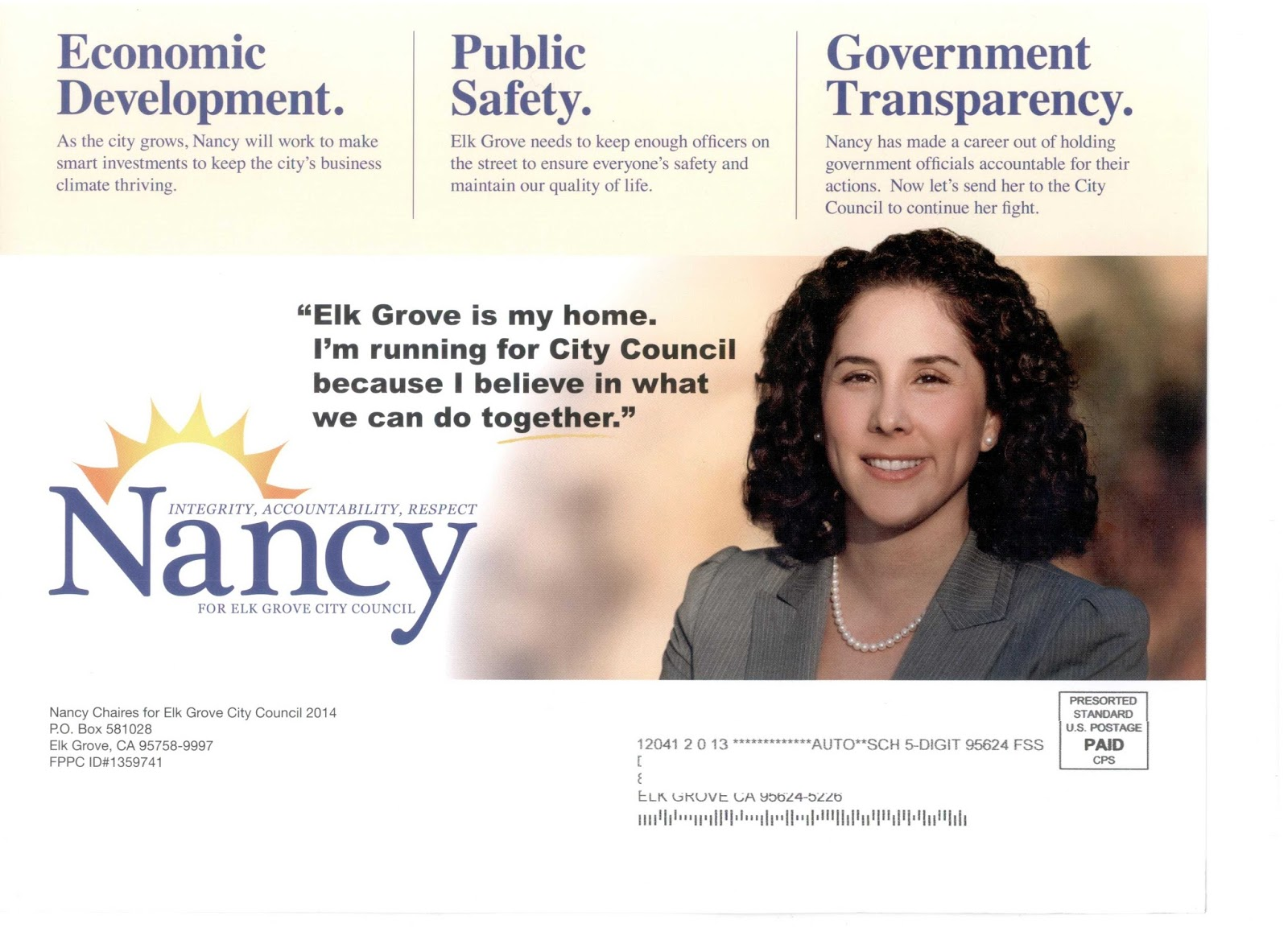 Here They Come – Chaires First to Mailbox in Elk Grove District 4 Race