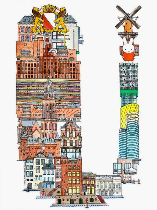21-U-Utrecht-Netherlands-Hugo-Yoshikawa-Illustrated-Architectural-Alphabet-City-Typography-www-designstack-co