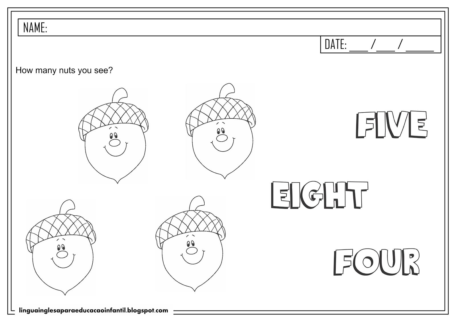 Atividade de inglês - Número 4 para educação infantil