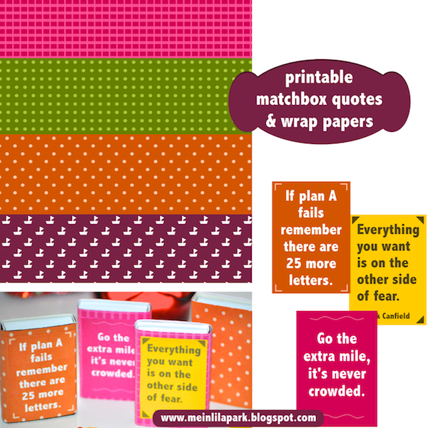 Free printable matchbox quotes and wrap papers - ausdruckbare ...