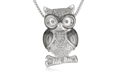 A Blog of Goodies: Daily Jewelry Deal: 60% off Silver & Diamond Owl Pendant Necklace + Free Shipping