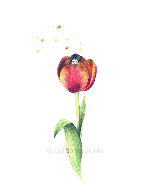 Illustration Friday Shy Tulip with Little Girl