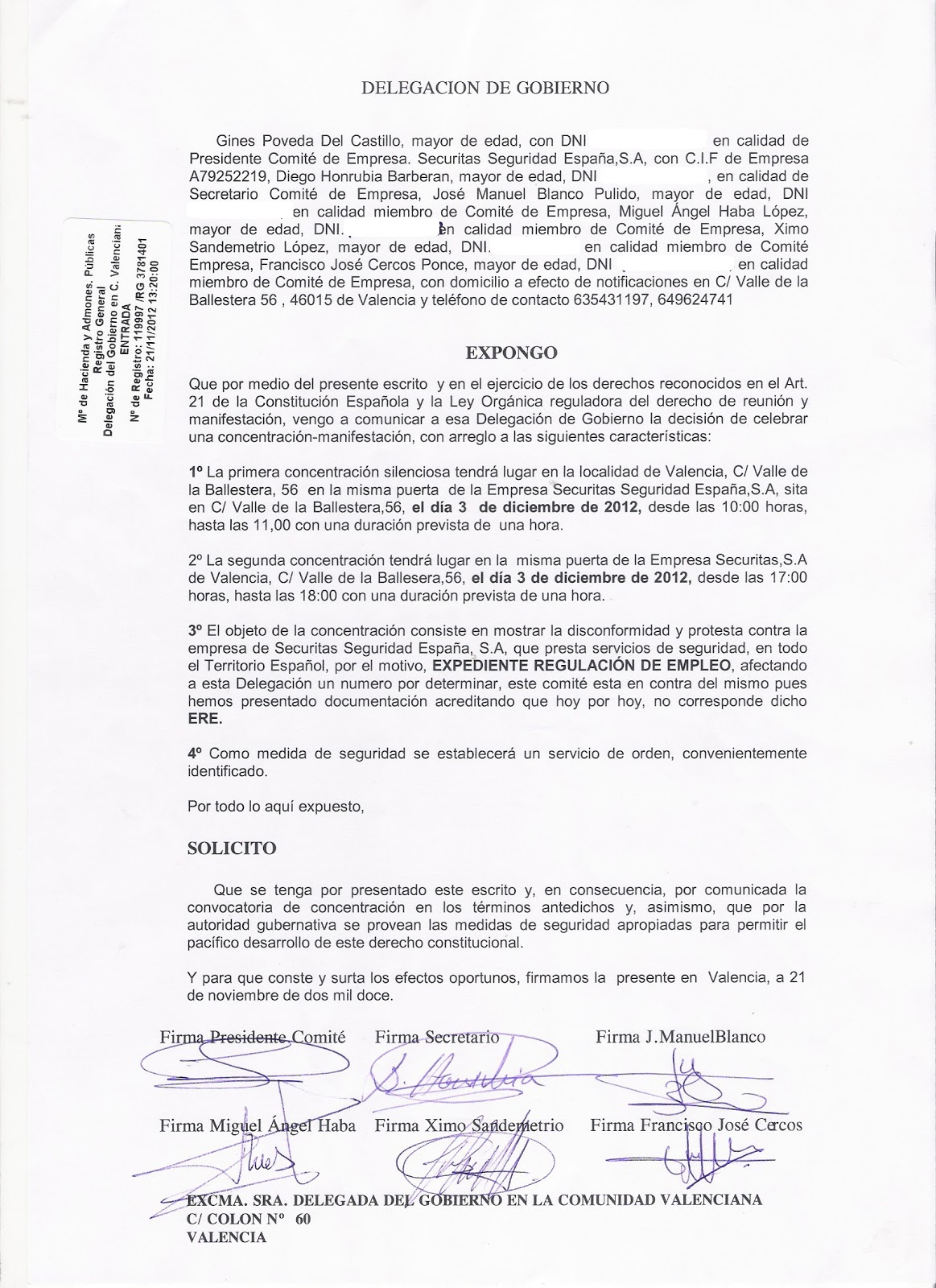 Securritos concentraci n en valencia por el ere de securitas for Convenio colectivo de oficinas y despachos valencia