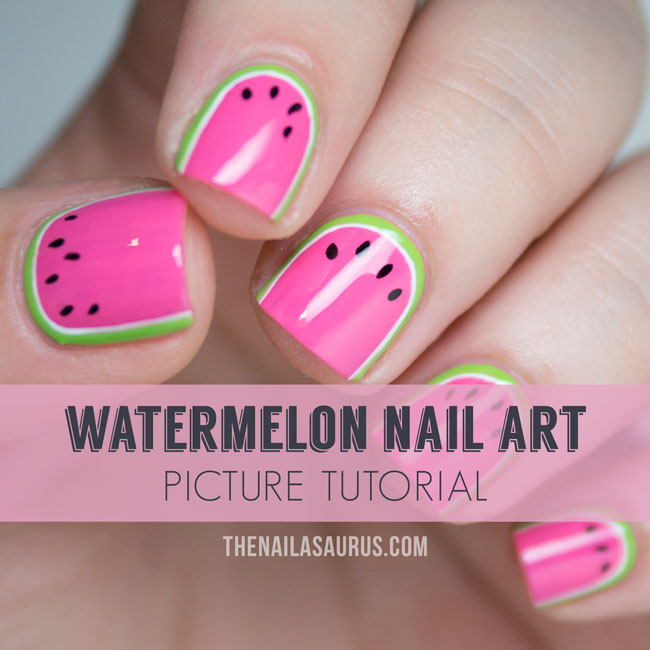 Watermelon Nail Art Tutorial - The Nailasaurus | UK Nail Art Blog on easy neon nail designs, easy nail designs for beginners, easy to do art, easy do yourself nail designs, easy to do toenail designs, quick and easy nail designs, easy nail polish design, easy flower nail designs step by step, easy to do tattoo designs, diy easy butterfly nail designs, easy zebra nail designs, easy to do nail designs for short nails, awesome easy nail designs,