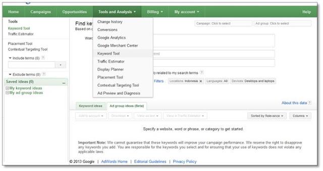 cara riset keyword - Menu Keyword Tool pada google adword