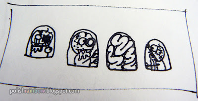 Halloween nail art challenge zombies concept sketch.