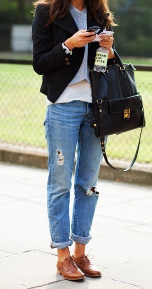 boyfriend jeans with oxfords