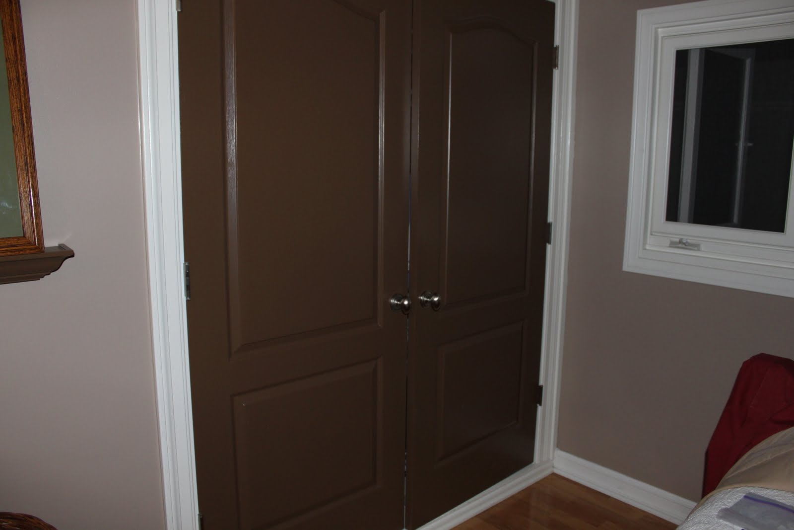 Weird MDF Closet Doors In Guest Bedroom