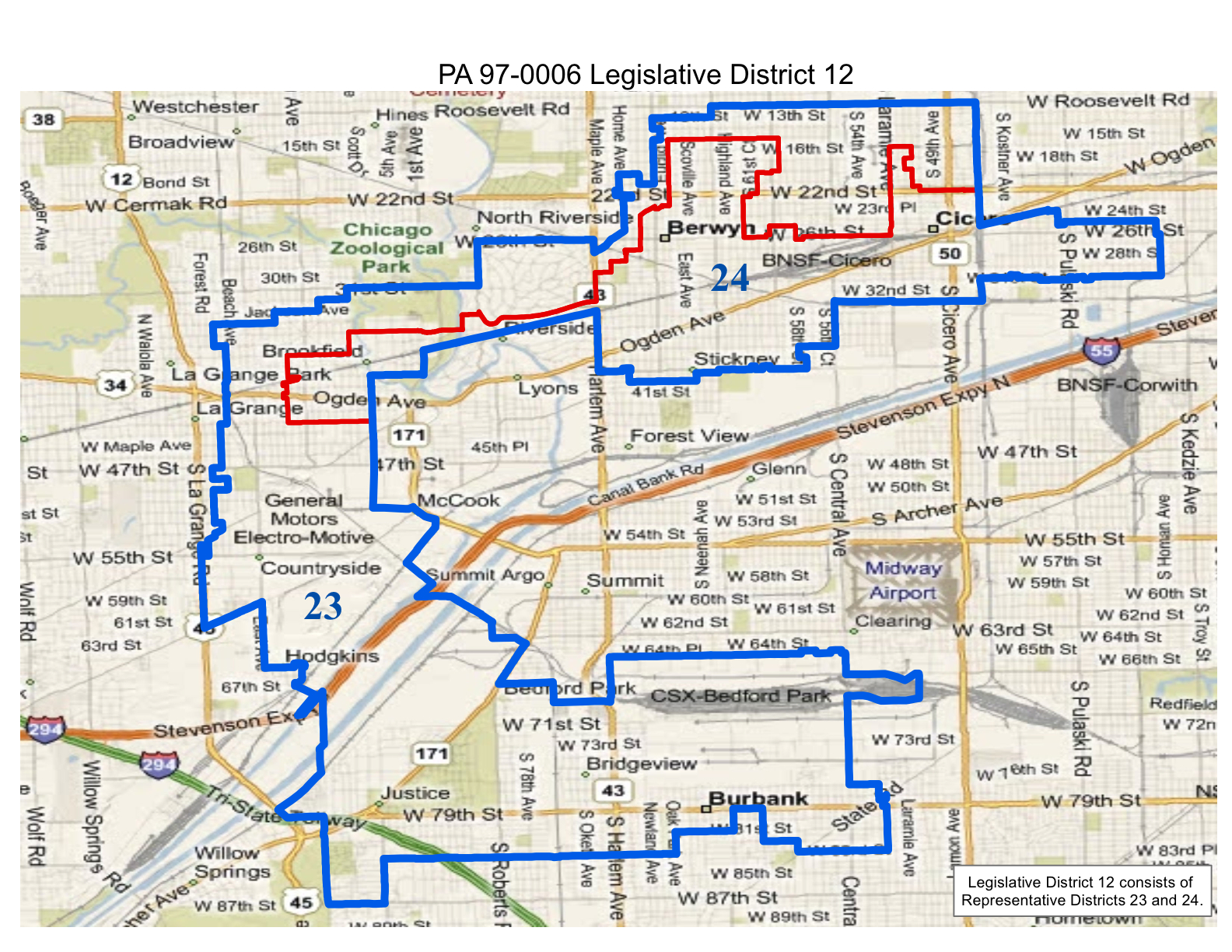 map of 2012 illinois legislative district 12 which includes state senate district 12 and state representative districts 23 and 24