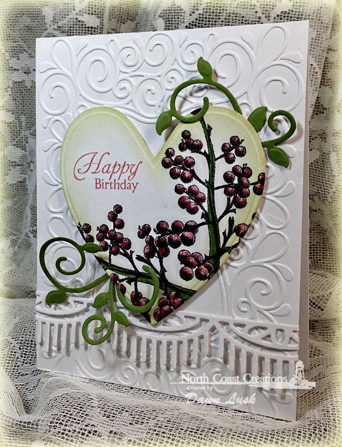 Stamps - North Coast Creations Floral Sentiments 2, ODBD Ornate Hearts Die, ODBD Fancy Foliage Dies, ODBD Beautiful Borders Dies