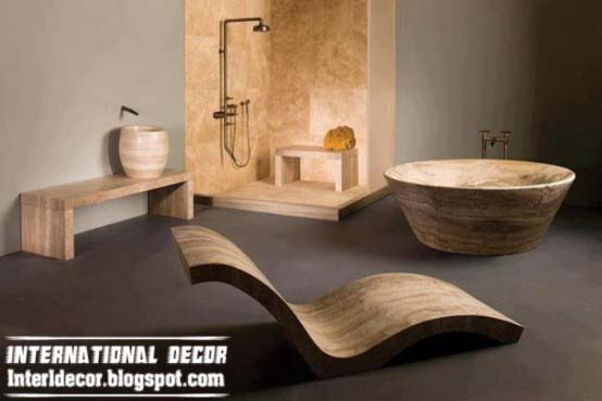 creative and luxury wooden bathtub designs UK with wooden bathroom furniture
