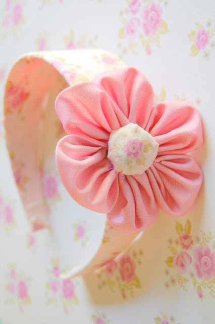 headband DIY fabric paper flower