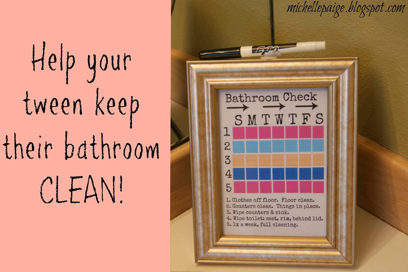 Michelle paige blogs helping a tween keep their bathroom for Keep bathroom clean
