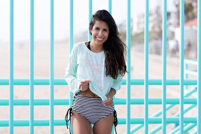 how to wear high waist bikini, swim brand amuse society, santa monica pier, summer swimwear