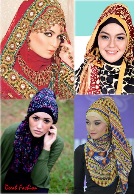 Jilbab Motif Tribal Etnik Cantik