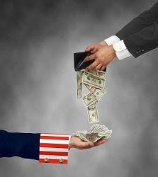 Man pours wallet into Uncle Sam's hand