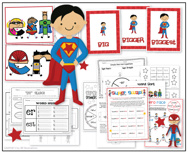 "the teacher wife: SUPERHEROES: Suffixes ""er"" and ""est"" UPDATE!"