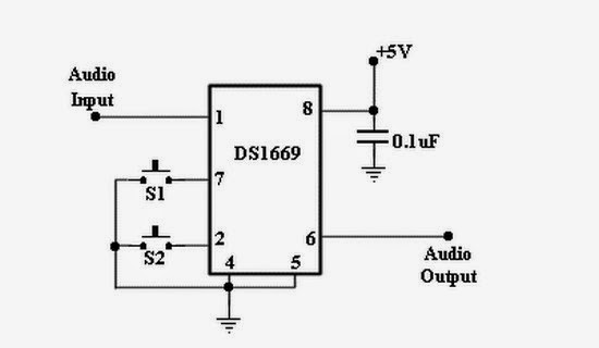 circuit diagram digital volume control using ds1669 ic