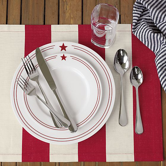 Red Star Plates - With a touch of delightful diner styling this broad-rimmed porcelain plate with a double-banded red rim and star icon sets an ... & Inside the Brick House: My 2015 July 4th All American RED WHITE ...