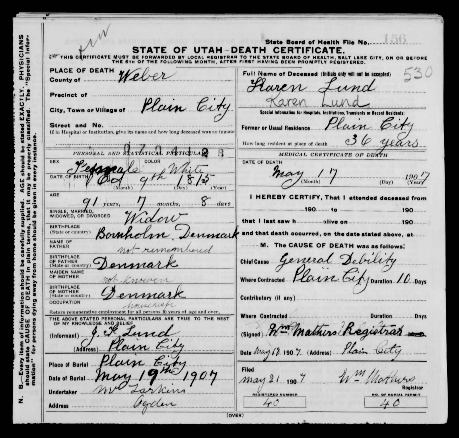 Lundology death certificate karen lund source state of utah utah death certificates 1904 1956 entry no 12318 karen lund 17 may 1907 digital images utah state archives and records service 1betcityfo Choice Image