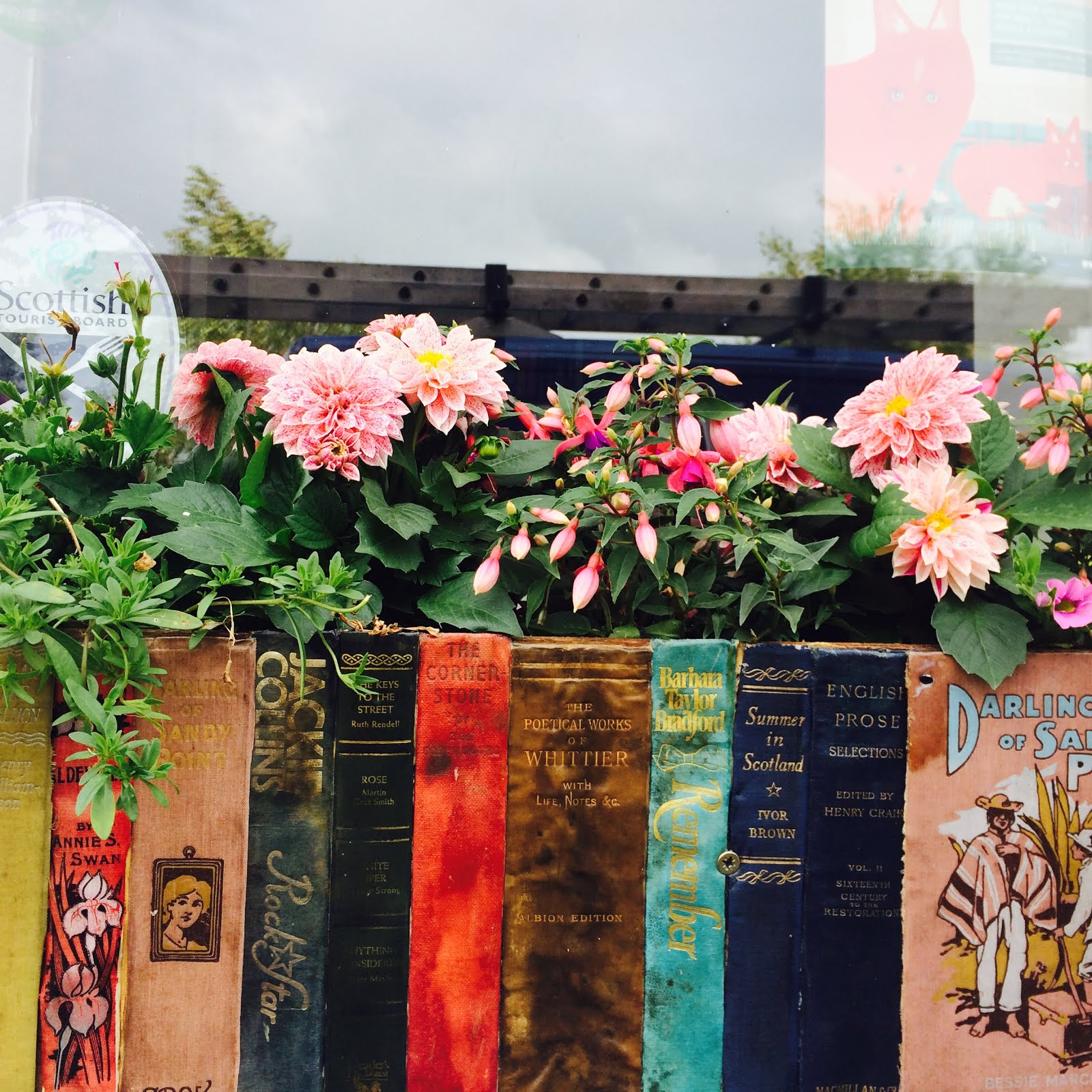 Beautiful books window box in Wigtown