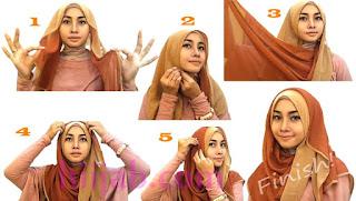 tutorial hijab segi empat cantik