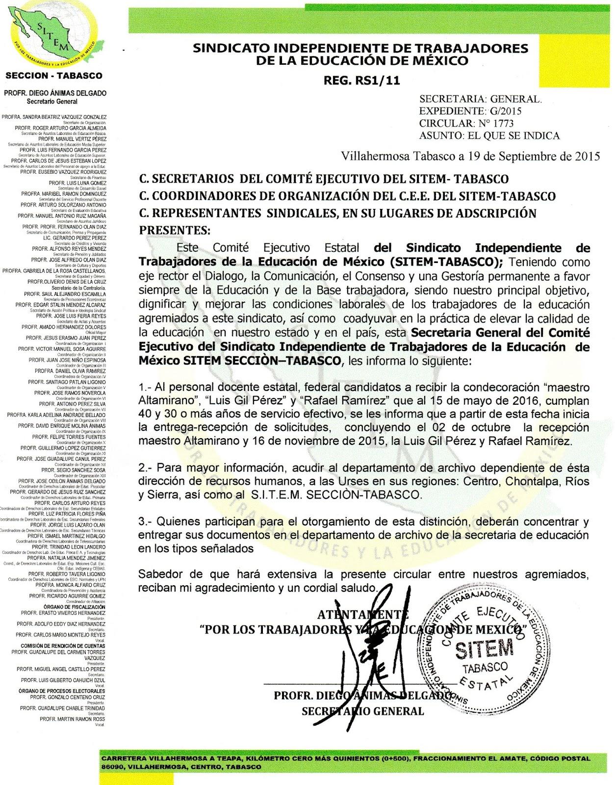 Sitem tabasco circular 1773 convocatoria para los for Convocatoria para docentes