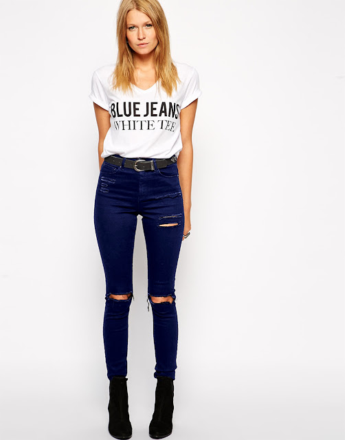 jeans with a white tee