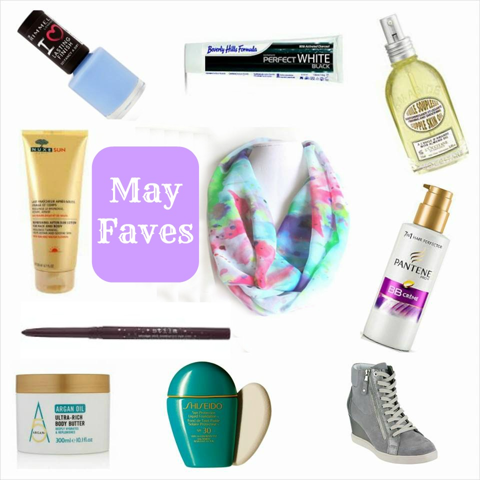 May Faves, May Favourites, 2014, Rimmel, Fancy a Dip, Beverly Hills Formula, Charcoal Toothpaste, L'Occitane Supple Oil, Pantene BB Creme, Purple Tag, Geox, Beauty, Argan Five Plus, Stila, Nuxe After Sun, Etsy Scarf