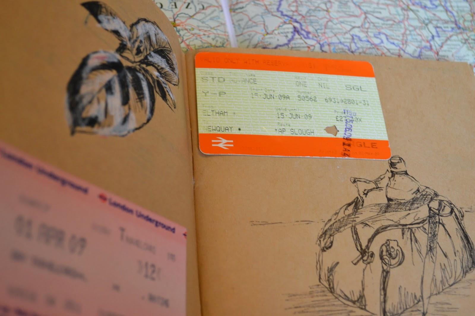 Sketches and train ticket