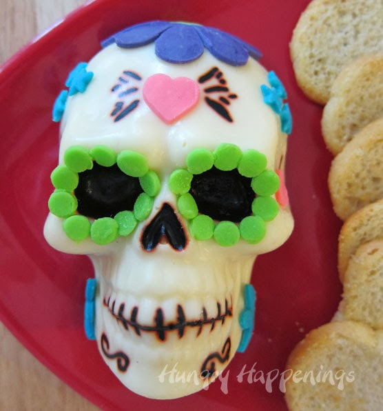 day of the dead appetizer decorated sugar skull made out of cheese hungry happenings