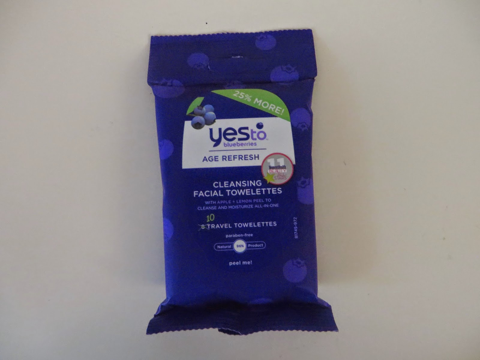 Yes To Age Blueberries Refresh Cleaning Facial Towelettes