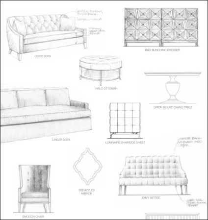 Illustrations From The Candice Olson By Highland House Furniture Collection