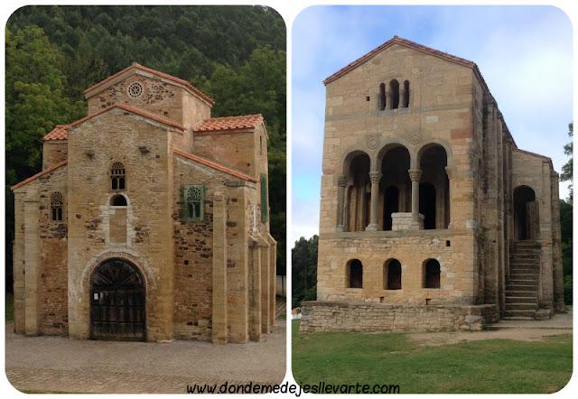 A la izquierda, San Miguel de Lillo. A la derecha, Santa María del Naranco