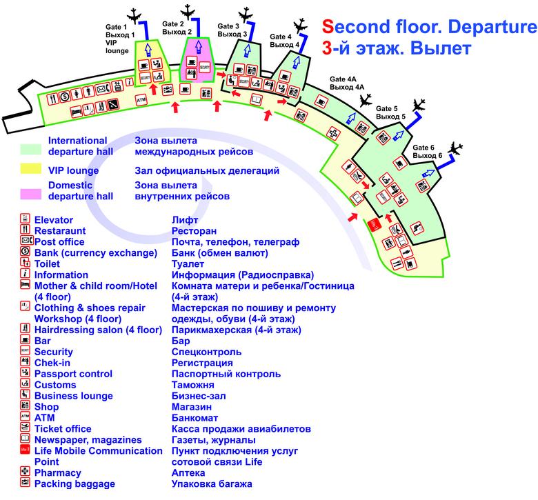 Схема зоны вылета аэропорта