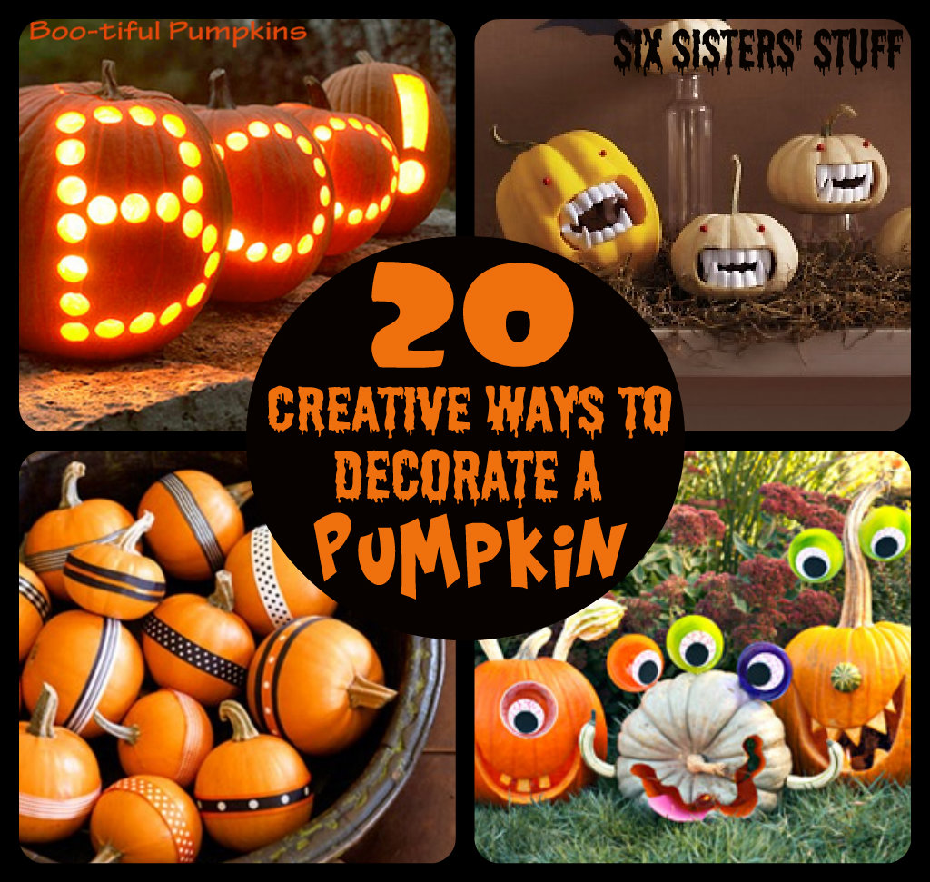 20 creative ways to decorate a pumpkin six sisters 39 stuff for A pumpkin decoration