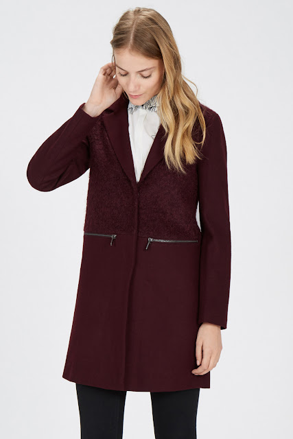 burgundy coat warehouse, burgundy one button coat,