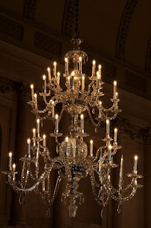 One of the chandeliers in the tea room  Upper Rooms, Bath