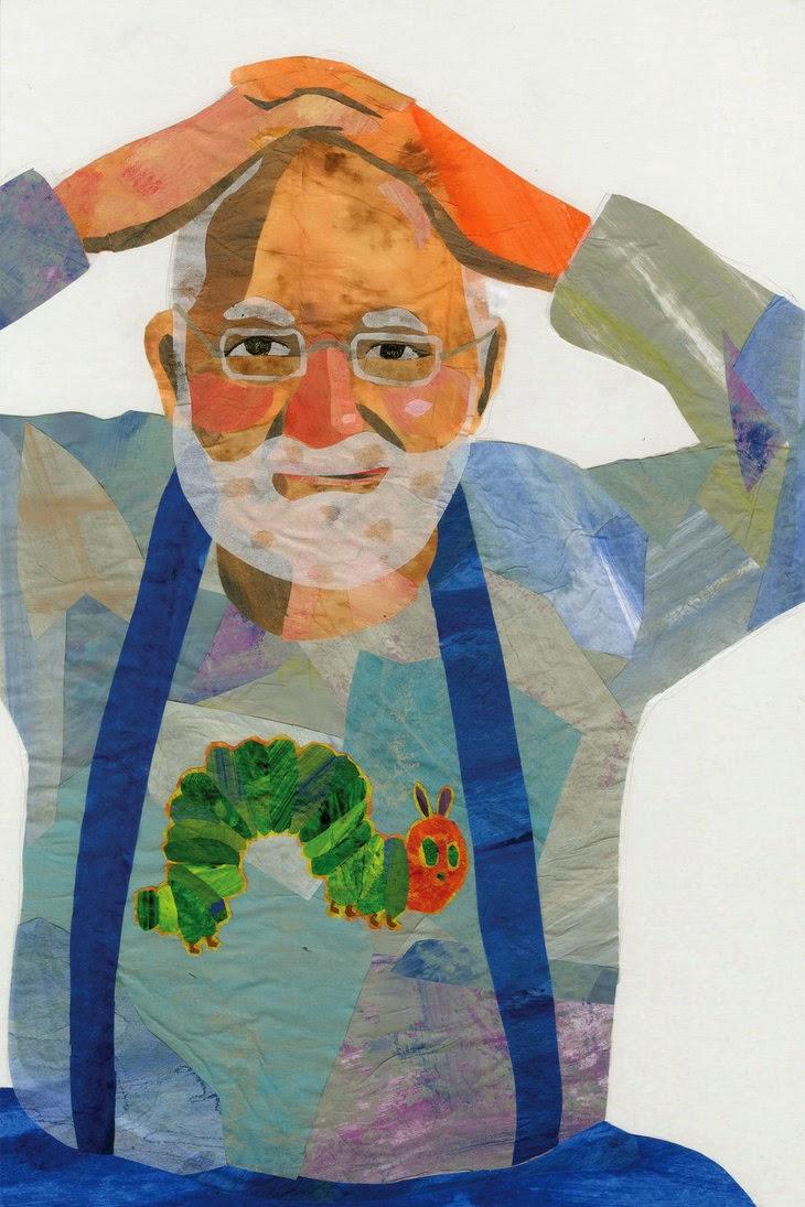 Autorretrato Eric Carle junto a la oruguita glotona