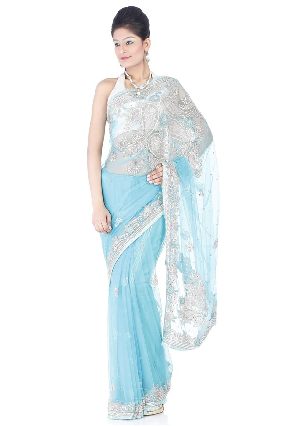 Pool Blue Net Saree