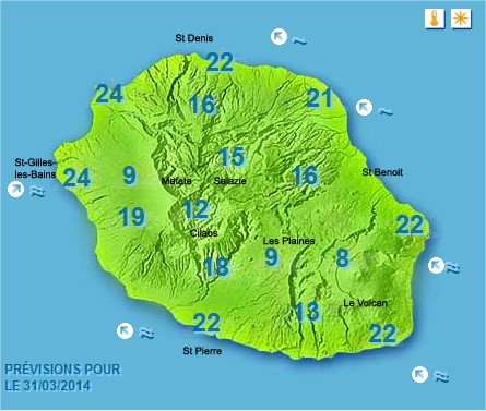 Prévisions météo Réunion pour le Lundi 31/03/14